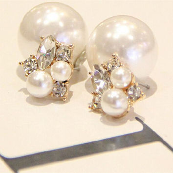 Fashion Trendy Double Sides Pearl Earring Two Ball Stud Earrings For Girls Crystal Jewelry