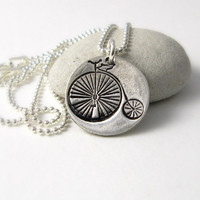 Silver High Wheel Bike Necklace Victorian Penny Farthing Bike Necklace Steampunk Bike Necklace Unisex Necklace Gift For Bike Lover