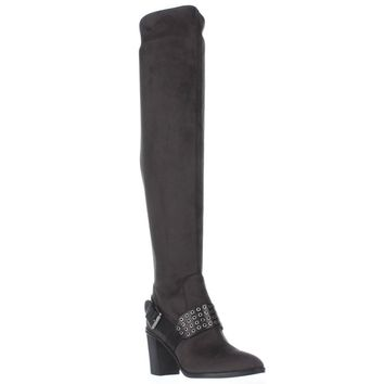 MICHAEL Micheal Kors Brody Washer Studded Over The Knee Boots, Charcoal, 5.5 US / 35.5 EU