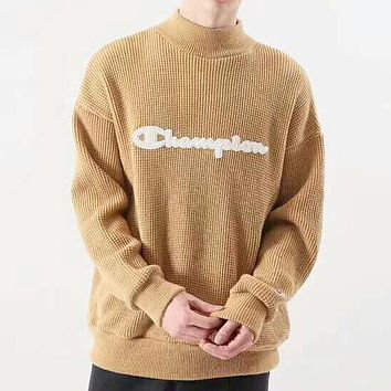 Champion New fashion bust letter couple long sleeve top sweater Khaki