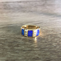Vintage Black Opal Ring in 14k Yellow Gold with Diamonds, H SI1 0.10 carats total, US Size 6 with anti rotation bars (ring sizing available)