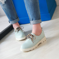 Lace Up Women Flats Casual Shoes Black, Blue, Pink, White