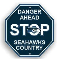 "Seattle Seahawks NFL Danger Ahead Stop Sign - 12"" x 12"""