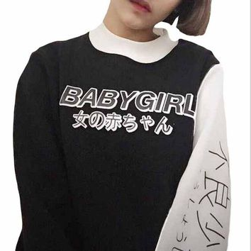 New Autumn Women Hoodies Japanese BABY GIRL Print Harajuku Sweatshirt Casual Women Tops Shirts Loose Casual Hoodie Kawaii