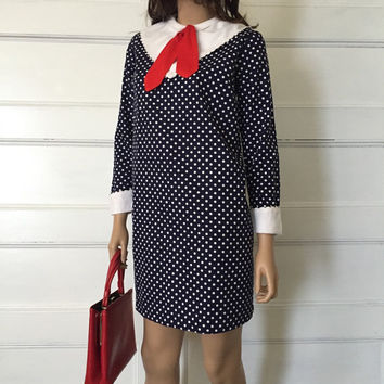 Vintage Sailor Dress - 1960s Blue and White Nautical Dress - Navy Polka Dot Dress - Rockabilly Pin Up Dress - 60s Mod Dolly Sailor Dress
