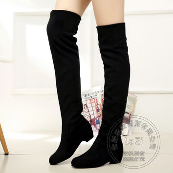 Stretch Fabric Korean Version Wedge Plastic Kitten Heels Nubuck Riding Womens Thigh Over The Knee Boots For Women Stovepipe