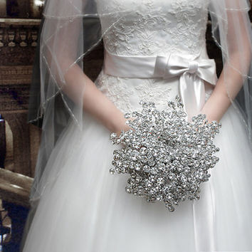 Wedding Flowers - Bridal Bouquet of Beautiful Silver Mirrored Beads - Wedding Bouquet - Fabulous Brooch Bouquet Alternative