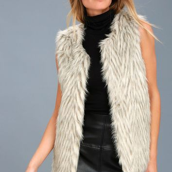 Groovy Baby Grey Faux Fur Vest