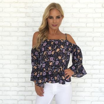 Flow Floral Cold Shoulder Blouse