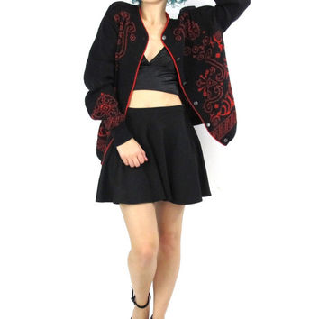 Vintage Pendelton Wool Cardigan Abstract Print Black Red Knit Sweater Button Up Paisley Floral Virgin Wool Sweater Winter Ski Jumper (M/)