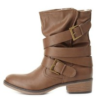 Belt-Wrapped Shearling-Lined Moto Boots by Charlotte Russe - Brown