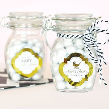 Personalized Metallic Foil Glass Jar with Swing Top Lid - Baby SMALL