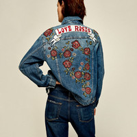DENIM JACKET WITH EMBROIDERED ROSES DETAILS