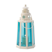 Ocean Blue Lighthouse Candle Lantern