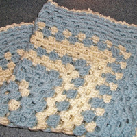 Blue and white baby boy blanket/cover