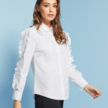 Lost Ink Ruffle Sleeve Shirt