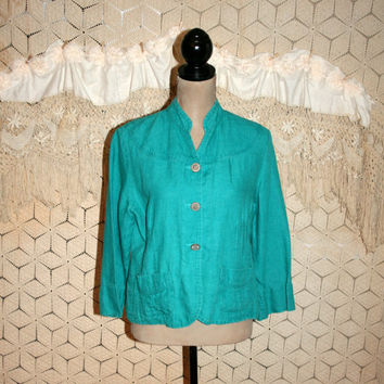 Vintage 90s Blue Green Turquoise Linen Shirt Boho Hippie Blouse Loose Fitting Spring Summer Button Up Tops Chicos Medium Womens Clothing