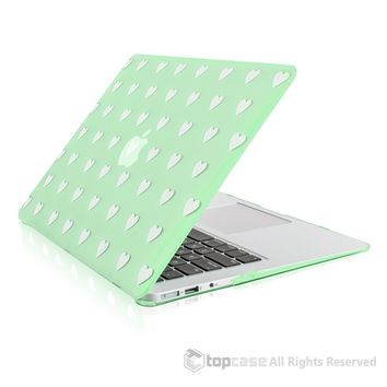 """Heart-Shaped Design Green Ultra Slim Light Weight Hard Case Cover for Macbook Air 13"""" Model: A1369 and A1466"""