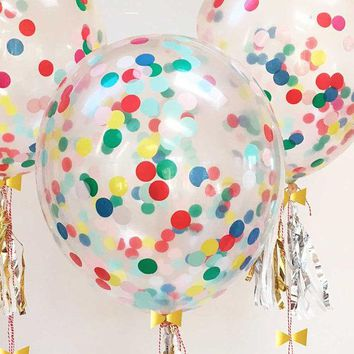 Rainbow Confetti Balloons - 6 pack of 12 inch filled Confetti Balloons, Unicorn and Rainbow Balloon