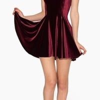 Burgundy Mulled Wine Velvet Scoop Neck Sleeveless Fitted Pleated Bell Fare Skater Mini Dress