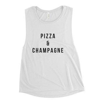 Pizza & Champagne Ladies' Muscle Tank