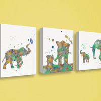 Elephant Nursery Decor, Baby Elephant, Canvas Print Set, Elephant Canvas Art, Watercolor Elephant, Baby Boy Nursery, Childrens Art, Kids