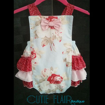 Baby Girl Romper - Baby Retro Sunsuit Romper - Snap Crotch Sunsuit - Ruffled Romper - Petal Large Antique Roses - Custom Sizes 3M-2T