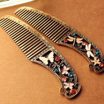 accessories dressing vintage retro butterfly finishing dragonfly comb hair bride accessories hair