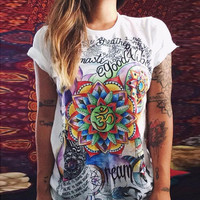 White Letter and Floral Print T-Shirt