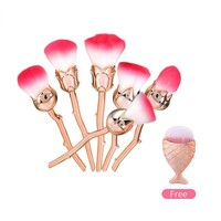 Rose Flower Makeup Brushes Set Blush  Contour Loose Powder