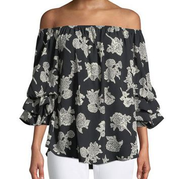 West Kei Off-The-Shoulder Lantern-Sleeve Blouse