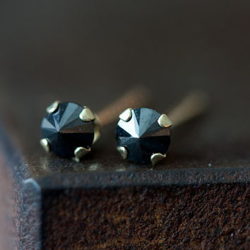 Black Diamond Spike Stud Earrings