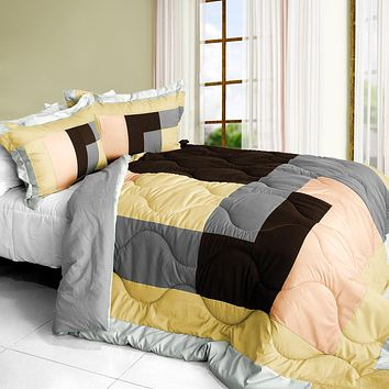 [Simple Blanche] Quilted Patchwork Down Alternative Comforter Set (Full/Queen Size)