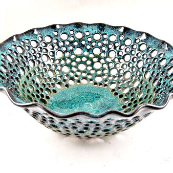 "Large Handmade Pottery Fruit Bowl in Teal blue 11.25"" x 4.25"""