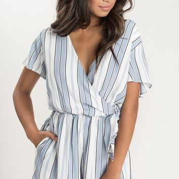 Terri Blue and Black Stripe Romper