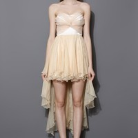 Twisted Bustier Waterfall Prom Dress in Nude