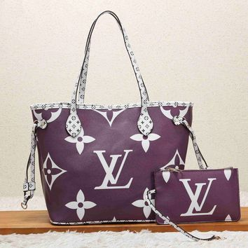 LV Newest Women Shopping Leather Handbag Tote Shoulder Bag Purse Wallet Set Two-Piece Purple