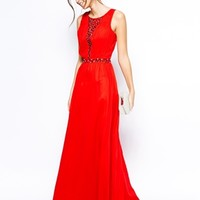 Chi Chi London Lace Maxi Dress with Embellished Plunge Neck