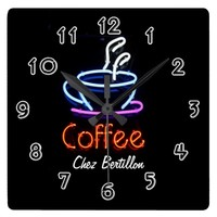 Coffee Cafe Neon Sign Personalized Square Wall Clock