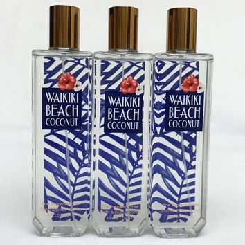 3 PACK Bath & Body Works WAIKIKI BEACH COCONUT Fragrance Mist 8 oz