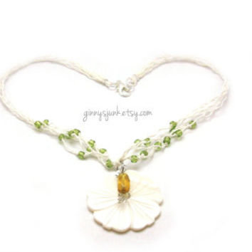 Hemp Necklace with Hibiscus Flower & Peridot Seed Beads - Beach Jewelry - 16 inch Necklace