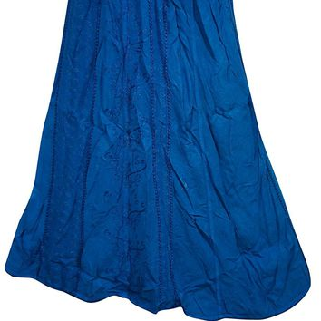 Womens Skirt Fashionable Dark Blue Embroidered Long Skirts S/M