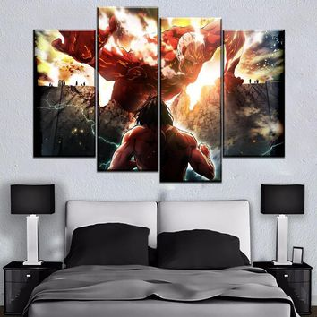 Cool Attack on Titan Modern Painting Wall Decor Framework Bedroom Canvas Print 4 Pcs Anime  Eren Yeager And No  Poster AT_90_11