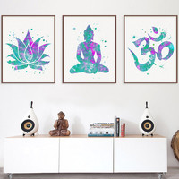 Watercolor Art Print Set, Lotus, Buddha, Om Symbol, Lotus Flower Art, Buddha Art, Om Symbol Art, Meditation Art, Zen Art, Yoga Art, New Age