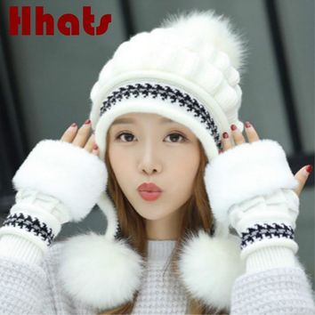 a5dbc101373 Faux Fur Winter Hat Gloves Sets Solid Thick Warm Earflap Women Cap Gloves  Set Fashion Outdoor