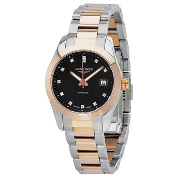 Longines Conquest Classic Black Diamond Dial Steel and 18K Pink Gold Ladies