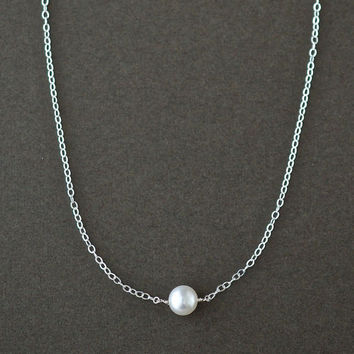 Teacher Gifts, Single Floating Pearl Necklace, Sterling Silver, Delicate Minimalist Freshwater Pearl Jewelry