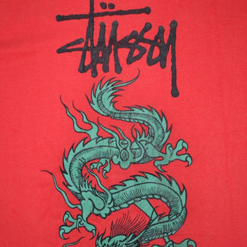 ON SALE 20% Vintage 90s STUSSY Dragon Made in Usa Skateboard Powell Peralta Red L size T-shirt