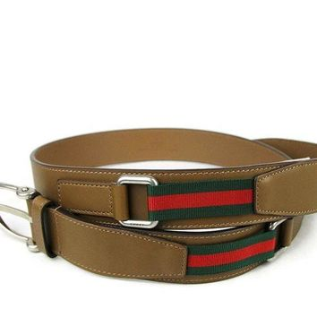 Gucci Men's Brown Leather Signature Web Spur Buckle Belt 309257 2566