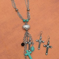 Silver with Turquoise & Cross Charms Long Necklace & Earring Set